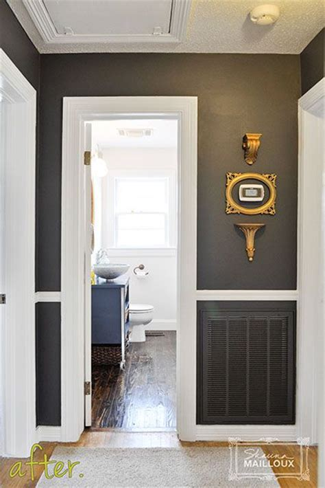 dark charcoal gray hallway like the dark paint with white