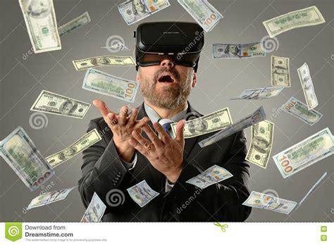 Businessman Using Virtual Reality Getting Money Stock Photo  Image Of Businessman, Internet