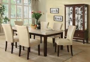 Marble Dining Room Set Kyle Casual White Marble Top Dining Table Set 7pc