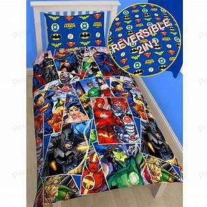 JUSTICE LEAGUE SINGLE DUVET COVER SUPERMAN BATMAN WONDER ...