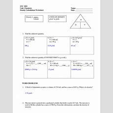 Density Worksheets With Answers  Density Worksheet With Answers  Chemistry Pinterest