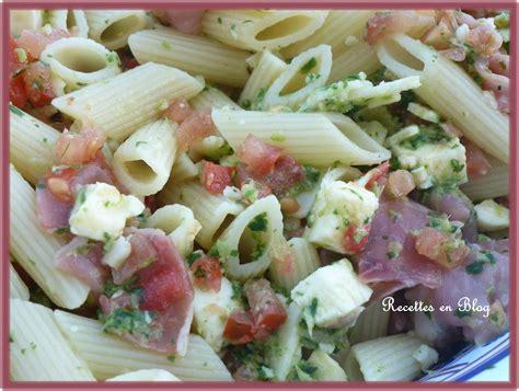salade de pates aux 3 fromages jambon cru basilic recettes en