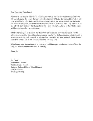 fillable maternity leave replacement teacher letter