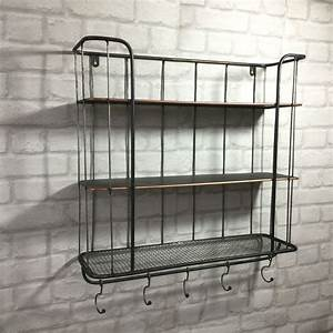 Vintage industrial style metal wall shelf unit rack coat for Metal bathroom shelving unit