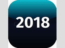 Year 2018 blue and white icon for phone app, web