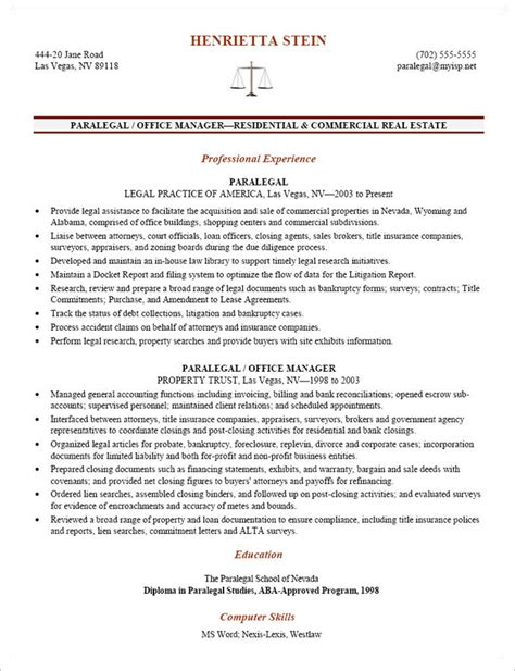 paralegal resume exle sle entry level paralegal