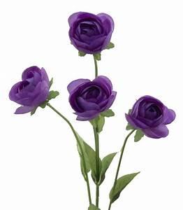 Purple Ranunculus Flower Stem with 4 Flowers Silk