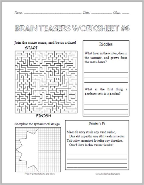 Printable Brain Teaser Worksheet Answers