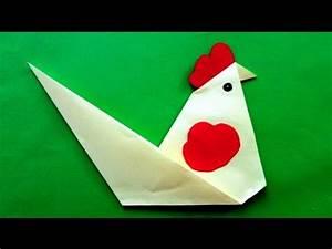 Origami Animaux Facile Gratuit : origami facile coq youtube ~ Dode.kayakingforconservation.com Idées de Décoration