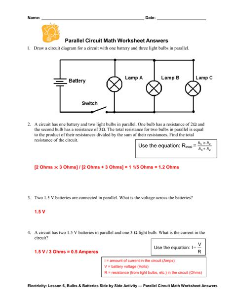 parallel circuit math worksheet answers