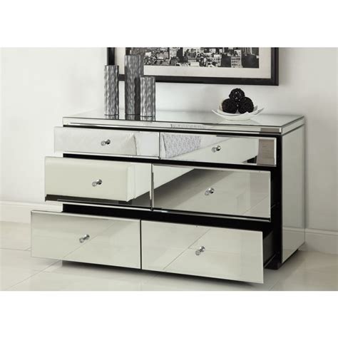 desk with drawers and mirror rio crystal mirrored dressing table 6 drawer dresser chest