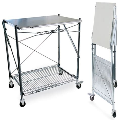 table cuisine retractable intermetro stainless steel folding work table in