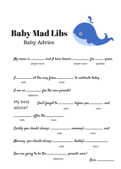 instant  baby shower mad libs template