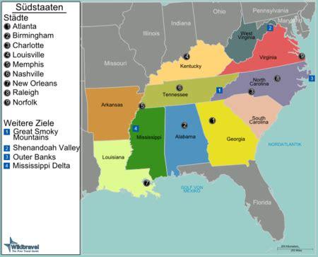 Usa Südstaaten Karte