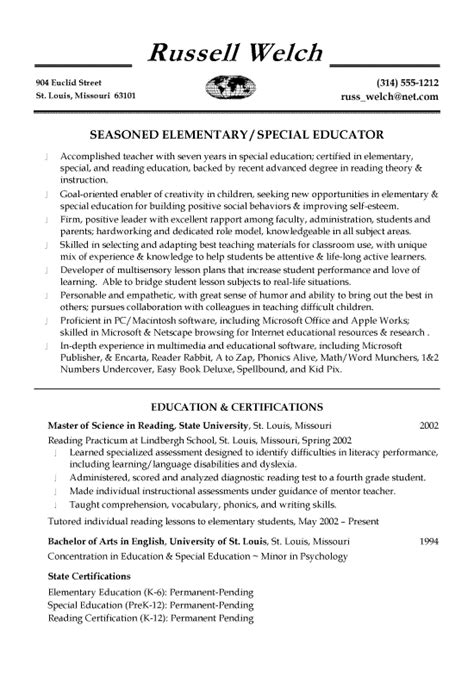 Skills For Teaching Resume by Special Education Teaching Resume Exle