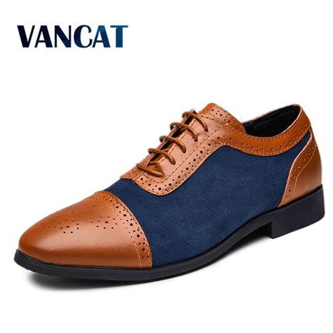 New Luxury Leather Brogue Mens Flats Shoes Fashion