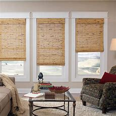 "Intercrown Corded Natural Woven Wood Roman Shades 72"" X 64"