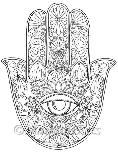 hand drawn adult coloring page print hamsa eye