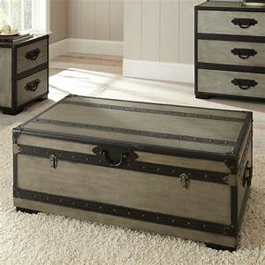 Steve silver rowan rectangle weathered gray trunk coffee for Gray trunk coffee table