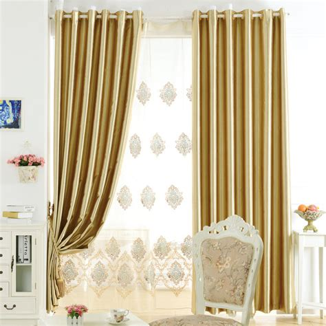 Modern Office Curtains In Gold Color For Blackout Purpose