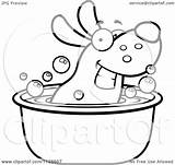 Tub Dog Cartoon Clipart Coloring Happy Soaking Outlined Vector Pages Template Cory Thoman 2021 Sketch sketch template