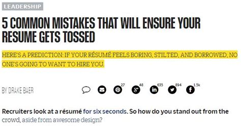 5 Common Resume Mistakes by Fast Company Quot Five Common Mistakes Quot Modern Search