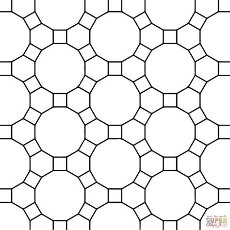 tessellation templates tessellation with hexagon dodecagon and square coloring page free printable coloring pages