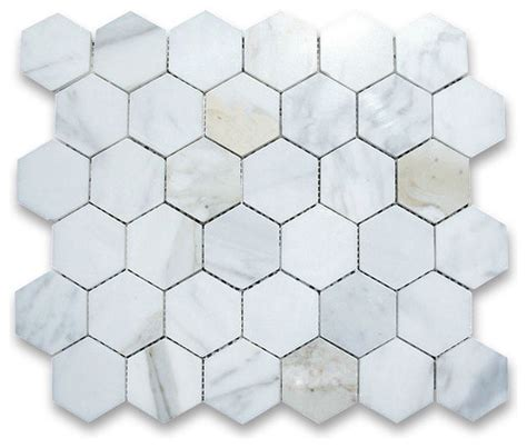 calacatta gold 2 inch hexagon mosaic tile polished