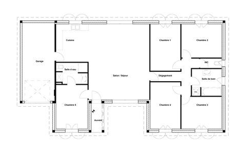 plan maison 5 chambres plan maison 4 chambres 130m2