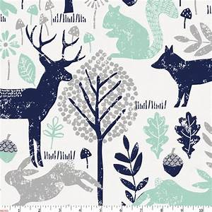 Navy and Mint Woodland Animals Fabric by the Yard Navy
