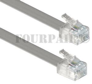 100 pack lot 7ft telephone line cord cable 6p6c rj12 rj11 dsl fax phone silver ebay