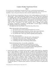 Accuplacer Reading Comprehension Practice  Accuplacer Reading Comprehension Practice Part I For
