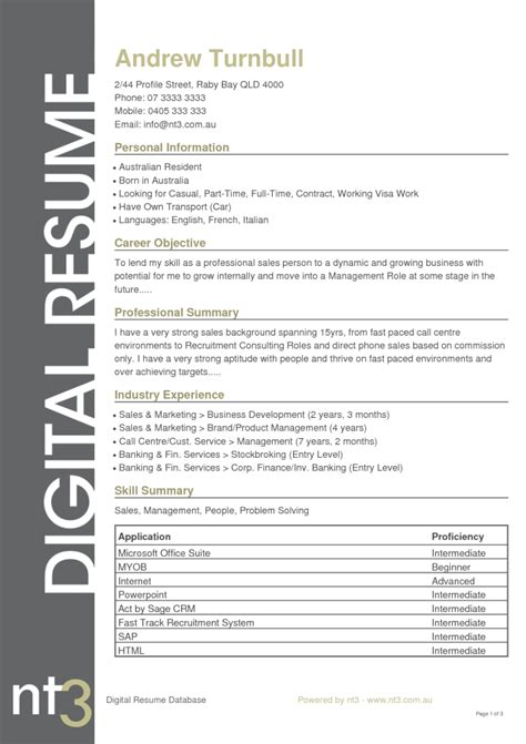 Resume Seek Au by Cv Format Template Curriculum Vitae Resume Template 2016