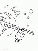 Satellite Coloring Designlooter Sheets Space sketch template