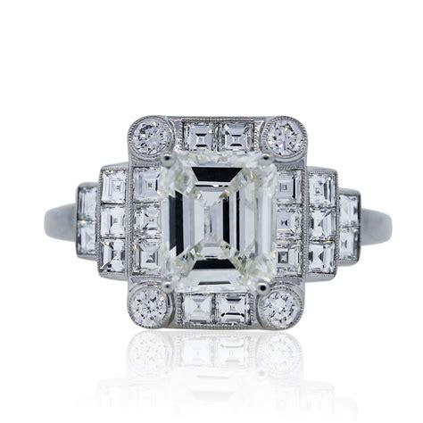 platinum 1 46 carat emerald cut deco engagement ring