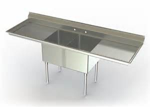 two compartment utility sink with 2 drainboards