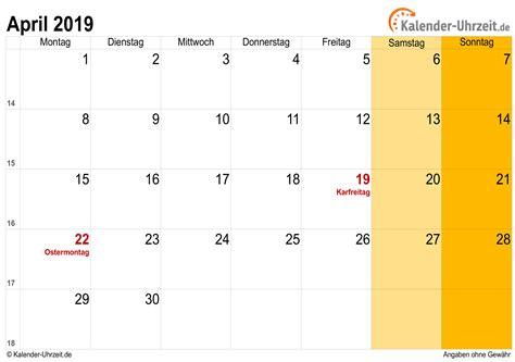 april kalender mit feiertagen