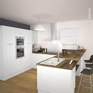 frais cuisine blanc laque et bois impressionnant design With plan de travail cuisine blanc laque
