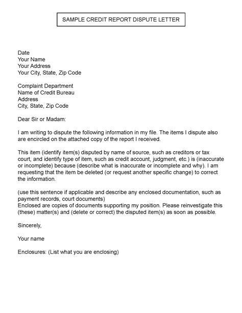 sample credit report dispute letter credit paying