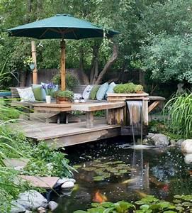 Bassin De Jardin Pour Poisson : d coration de jardin avec une fontaine pour bassin ~ Premium-room.com Idées de Décoration