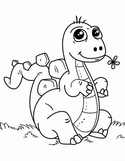Coloring Dinosaurs Pages Dinosaur Children Simple Printable