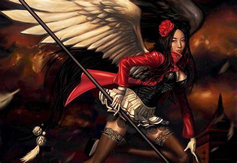gothic angel wings girl fantasy dark stockings weapons asian orienatl women females girls brunettes wallpapers hd desktop