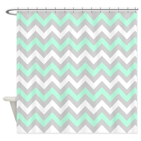 Grey And White Chevron Curtains Canada by Mint And Gray Chevron Shower Curtain By Ornaartzi