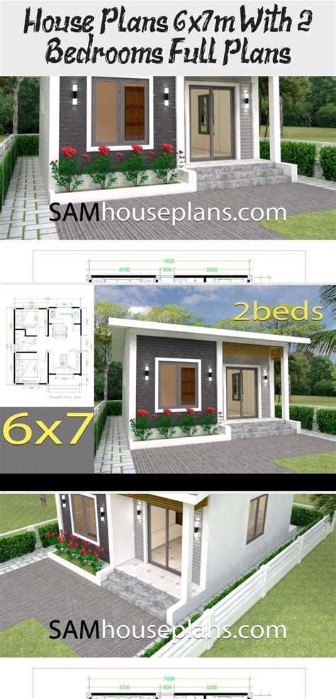 House Plans 6x7m with 2 bedrooms Full Plans SamPhoas