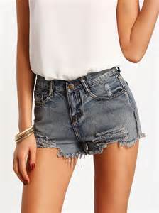 Ripped Blue Jeans Shorts