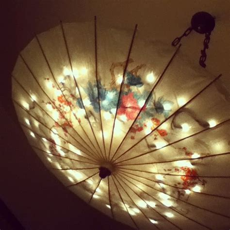paper umbrella light hanging pretty  pinterest