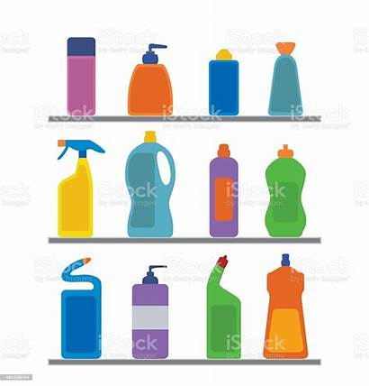 Cleaning Chemical Supplies Vector Bottle Illustration Spray