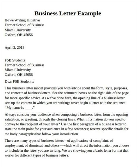 page business letter layout letters  sample letters