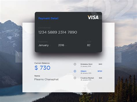 credit card current balance  chonny iam  dribbble