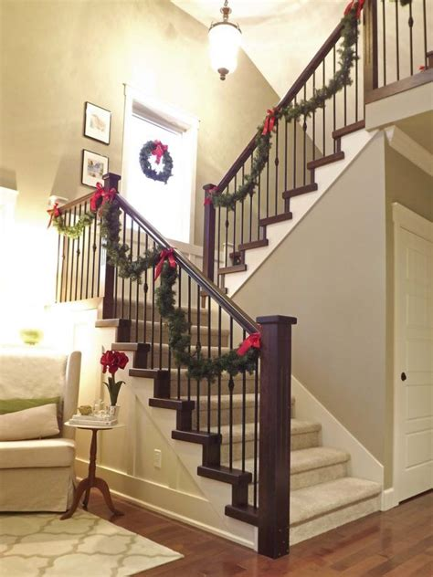 interior wooden stairs railing christmas decor indoor